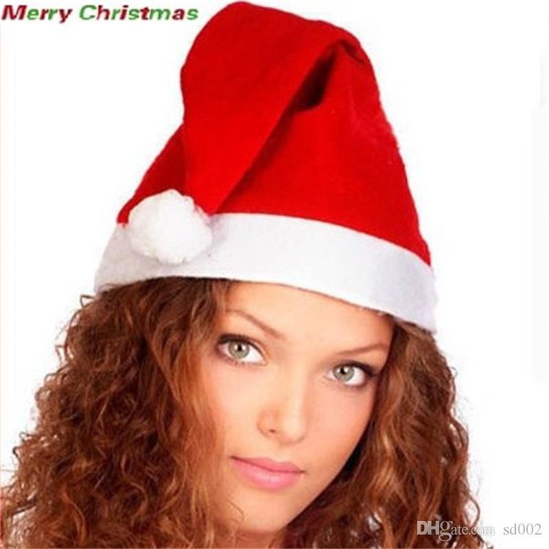 Wesołych Świąt Christmas Kapelusz Czerwony Miękki włóknin Tkaniny Cosplay Dekoruj Kapelusze Dzieci Kid Dorosłych Cap Party Supplies 0 44CQ BB