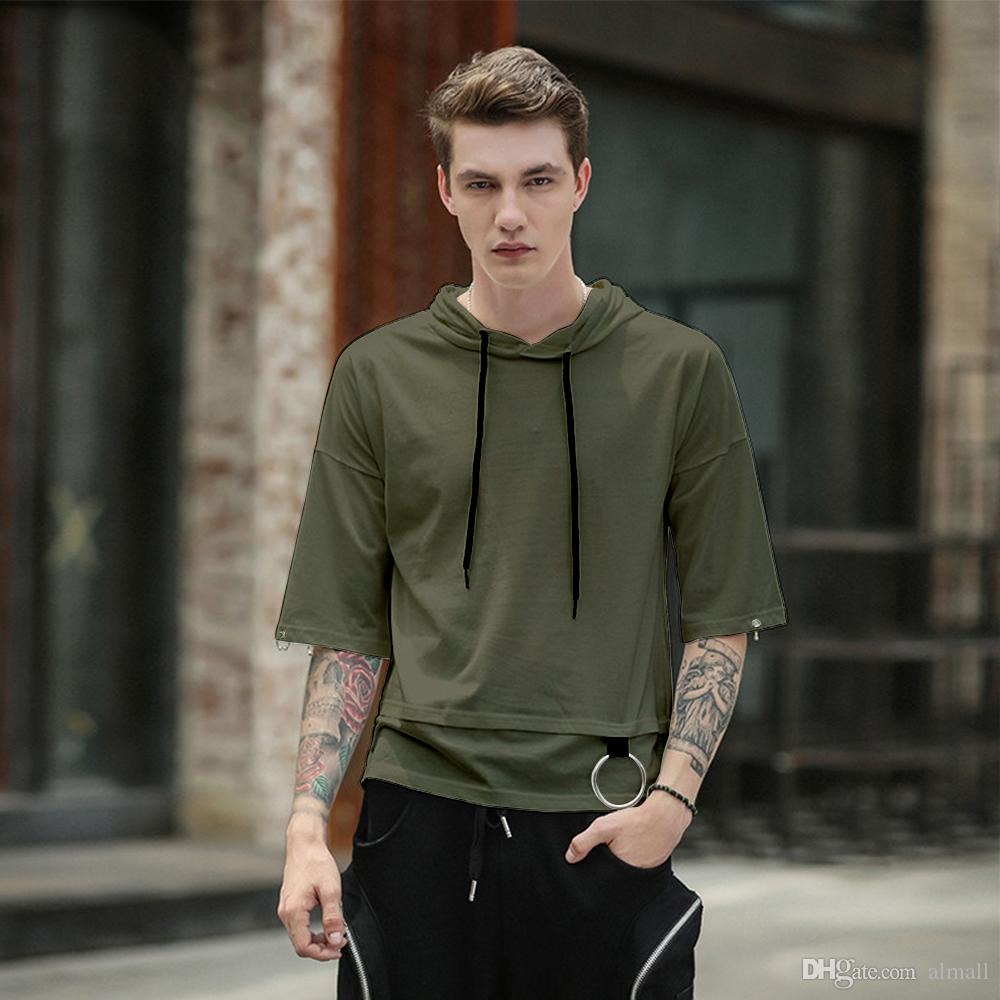 2018 summer hoodies hip hop have cap pocket half sleeve top tees t shirt High street Men T shirt casual cotton Pullovers