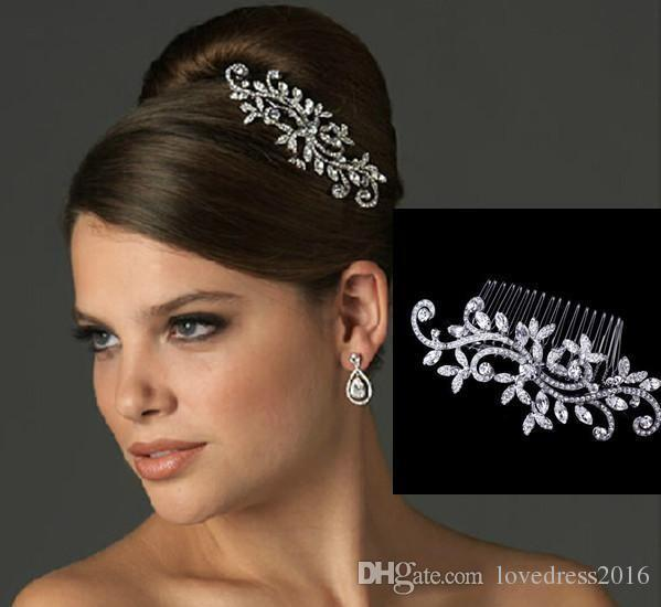 In Stock Bridal Hair Comb Wedding Jewelry Flower Rhinestone Tiaras & Hair Accessories Sparkling Bride Hair Combs Headpieces