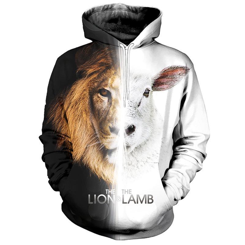 Cloudstyle 3D Print Hoodies Männer Frauen Lion Lamb Schwarz Weiß Hoody Sweatshirts StreetwearTracksuits Pullover Top Plus Size 5XL