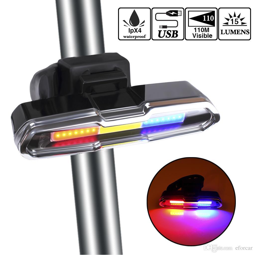 USB wiederaufladbare LED Fahrrad Rücklicht mit 3 Farben Licht und 6 Beleuchtungsmodi Mehrzweck Super Bright Bike Warnlicht zum Reiten