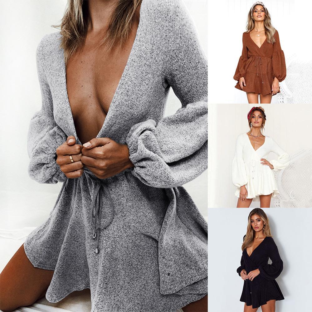Nowe Kobiety V Neck Wzburzyć Trykotowy Sweter Sukienka Jesień Zima Lace Up Krótkie Suknie Casual Długi Rękaw Solidna sukienka A-Line SJ5125