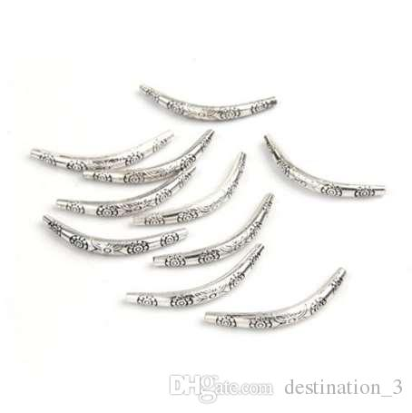 10pcs/lot 35*4mm Tibetan silver Curved Tube Spacers Beads for Necklace Bracelet DIY Jewelry Making Z760
