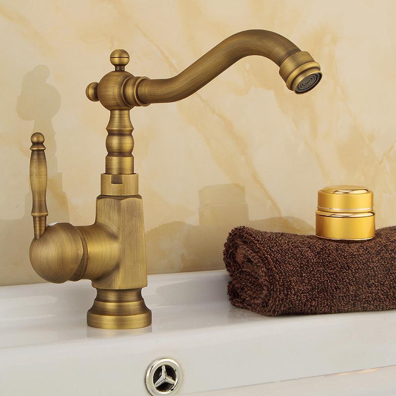 Vintage Antique Brass Wall Mount Bathroom Tub Sink Swivel Faucet Mixer Tap
