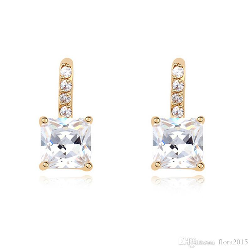 Top Quality Jewelry for Women Champagne Gold Color Plating Square Crystal Stud Earrings with CZ Stones Best Bijoux Gift