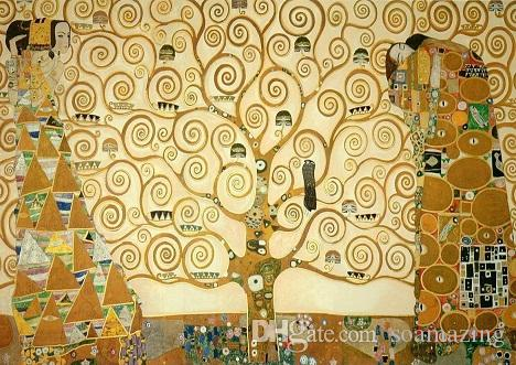 Gustav Klimt The Tree of Life,Repro High Quality Handpainted /HD Print Abstract Art Oil Painting On Canvas Multi Custom Size /Frame Kl018