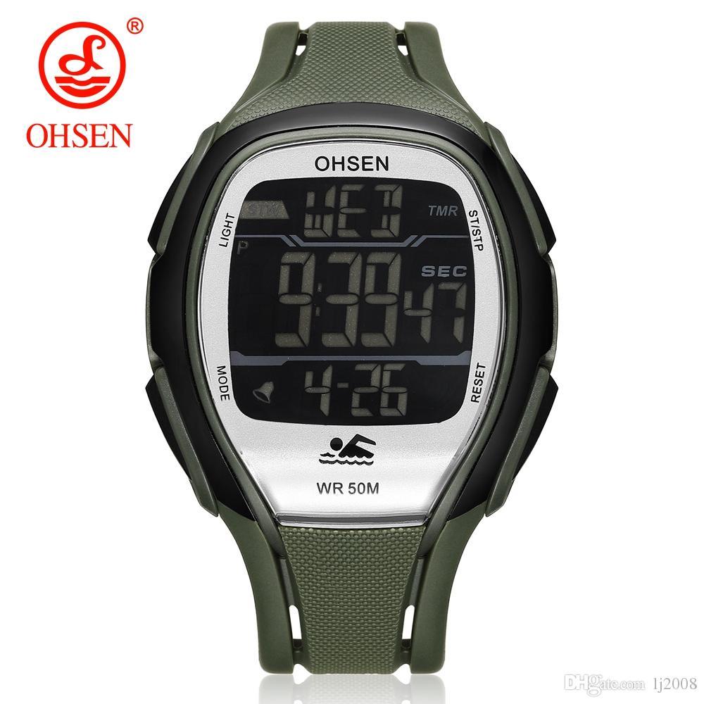 NEW 오리지널 OHSEN 스포츠 시계 디지털 시계 남성 LED 고무 밴드 방수 손목 시계 그린 다이얼 시계 Hombre Relogios