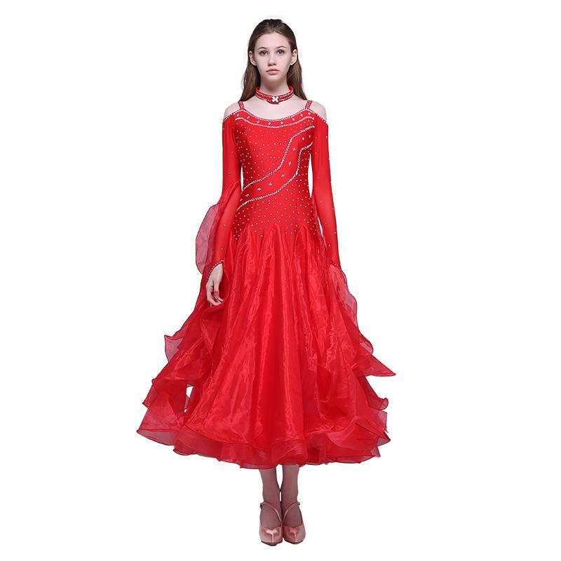 red ballroom dance competition dresses fringe standard ballroom dress rumba costumes dance wear waltz dress dancing clothes