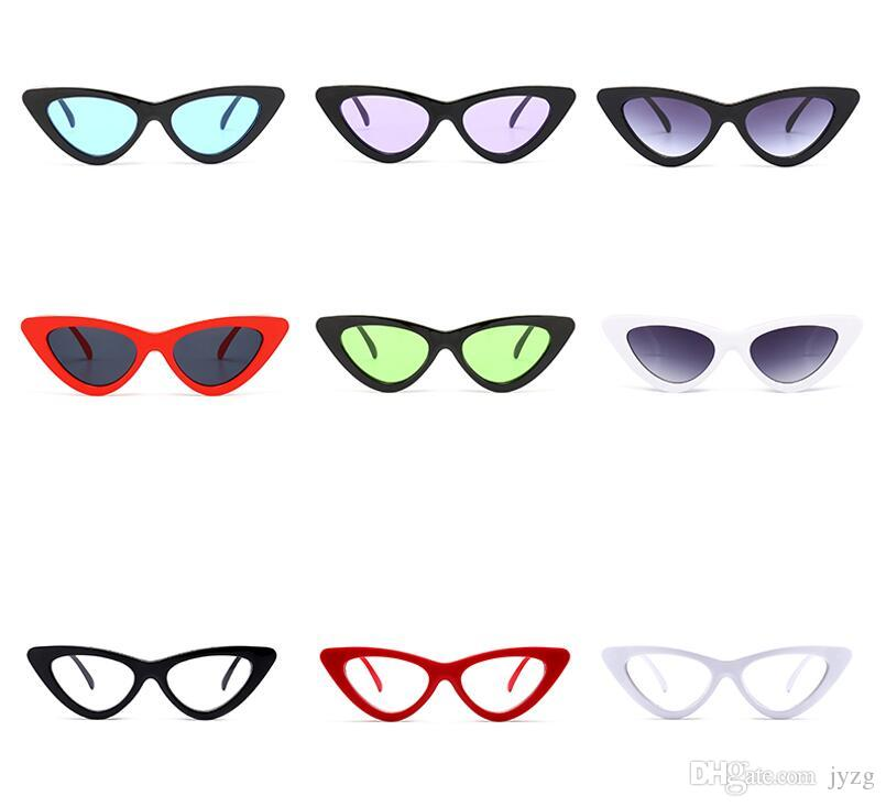 Peekaboo bonito sexy retro cat eye sunglasses mulheres pequeno preto branco 2018 triângulo vintage barato óculos de sol vermelho feminino presentes