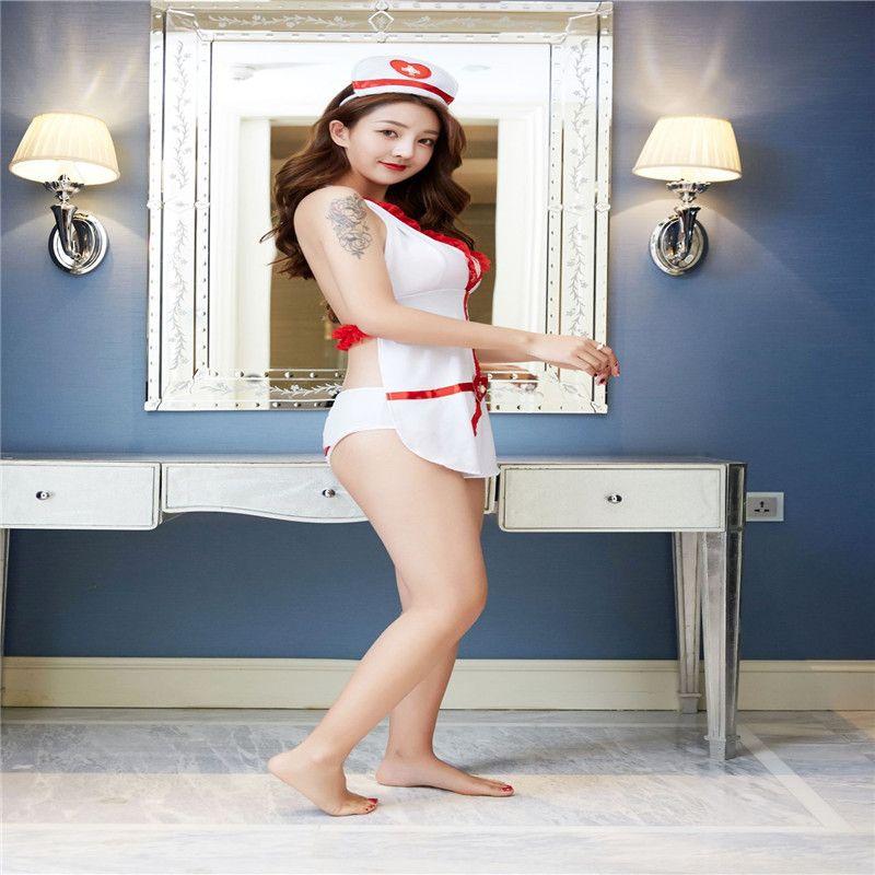 Косплей сексуальная женщина медсестра униформа набор невинных искушение взрослых висит шеи жилет спинки сексуальное нижнее белье
