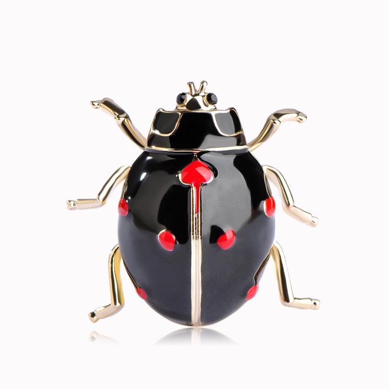 Vendita all'ingrosso Blucome Smalto Esmalte Coccinella Spille per insetti Per le donne Vestito Spilla Perni di colore oro Sciarpa Collare Collare Clip Broches