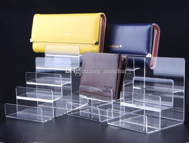 Il supporto di mostra del raccoglitore acrilico della borsa di esposizione del raccoglitore di mostra della borsa di vetro caldo guarda il supporto cosmetico di smalto per unghie che mostra il supporto 2pcs / lot