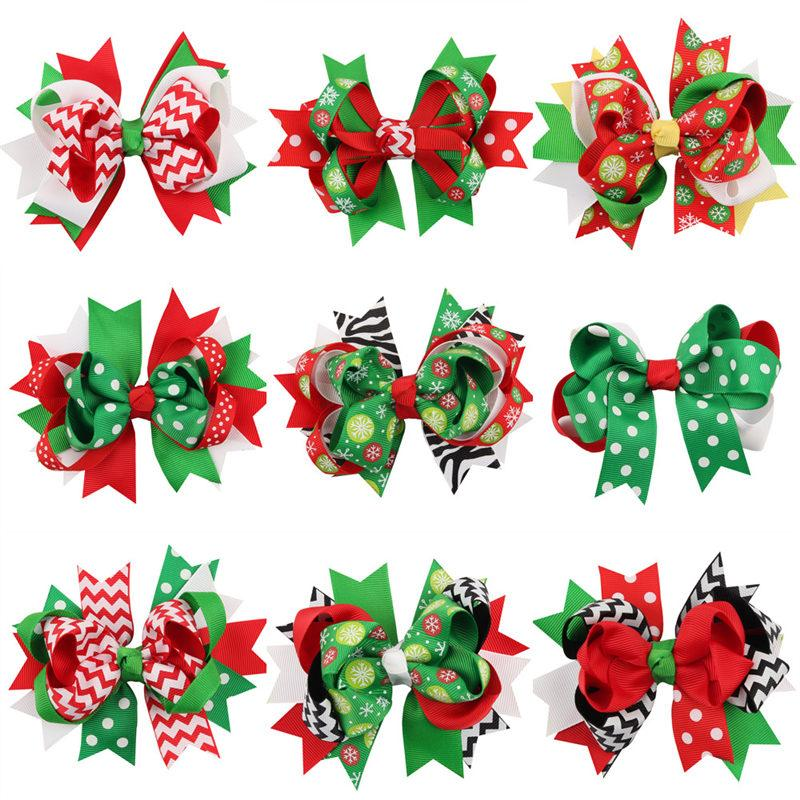 40pcs/lot 13 colors Child Girl Bow Large Layered Boutique Spike Christmas Bows hairpin Clip in Red Green Party Hair Accessary