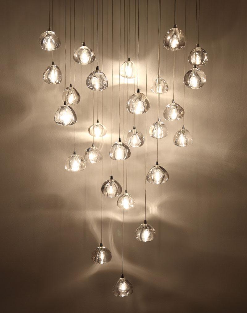 Lampade a sospensione a LED in cristallo Lampade a sospensione duplex Sala da pranzo Lampadario moderno Soggiorno in vetro Lampada a sospensione creativa Lampade a sfera trasparente