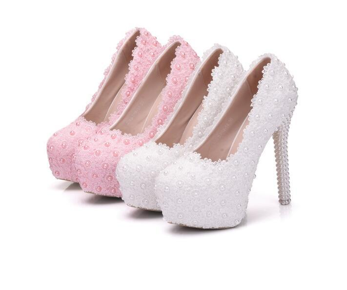 Fashion woman shoes Pink white Lace pearls FLOWER 14cm High-heeled shoes Fine heel Waterproof Princess Wedding shoes Large size 34-41