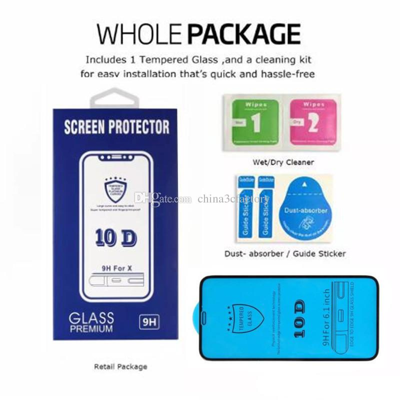 Vidrio templado con adhesivo completo 10D para iPhone XS Protector de pantalla máximo para iPhone X 7 Plus Vidrio de dureza 9H curvo completo para iPhone 6 8 Plus