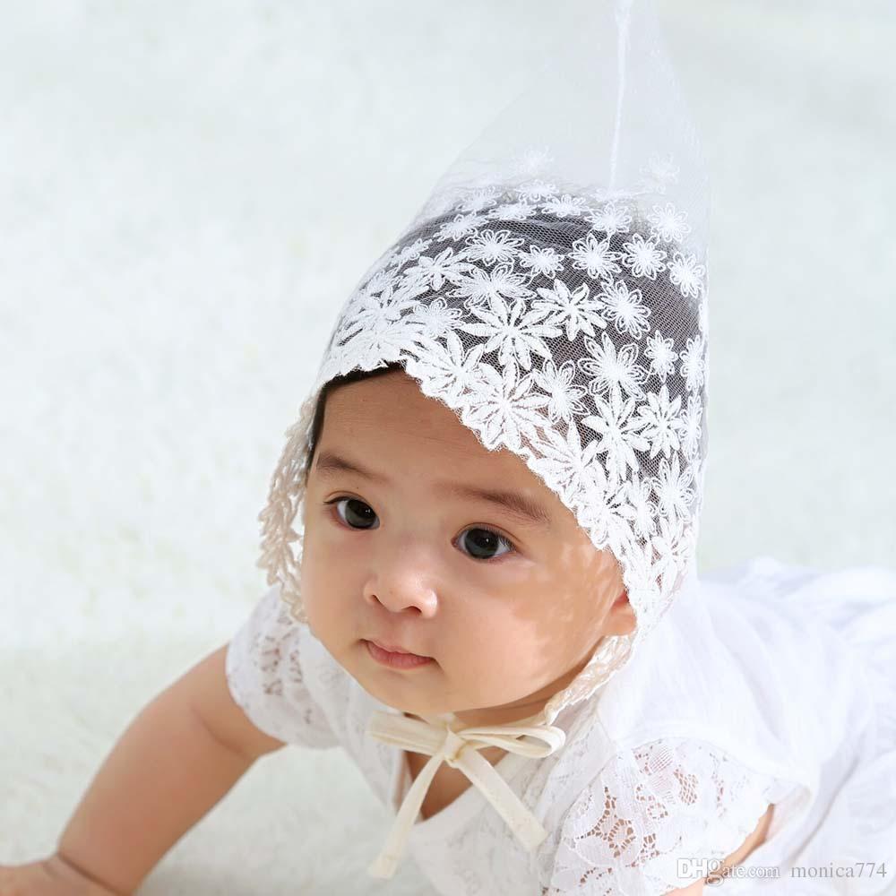 Coreano Hot Sale bebê recém-nascido Daisy Lace Chapéus Contagem Caps Rapazes Meninas Lace Chapéus bonito Pointed Cap Foto Props Lace Flor Chapéus 0-1T LH5