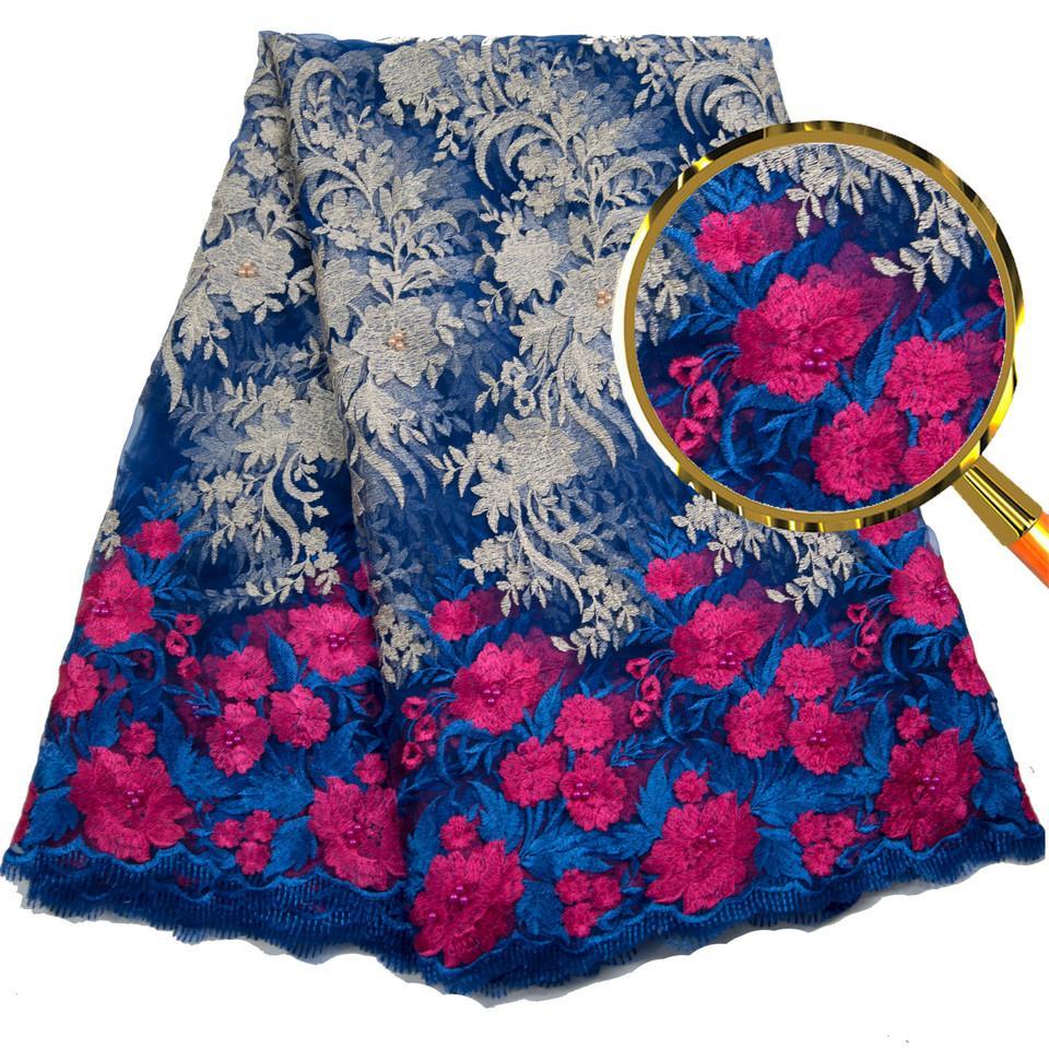 Dernières Bleu Royal Africain Lacets Tissus Brodé Haute Qualité Français Dentelle Tissu Pas Cher Nigérian Net Tulle Dentelle Tissu L2719