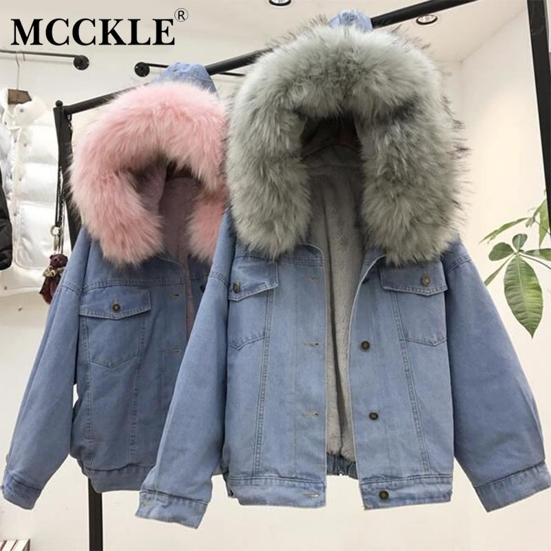 MCCKLE женщины зима толстые джинсовая куртка искусственного меха воротник флис с капюшоном джинсовая пальто женский ягненка меха мягкий теплый джинсовая куртка пиджаки