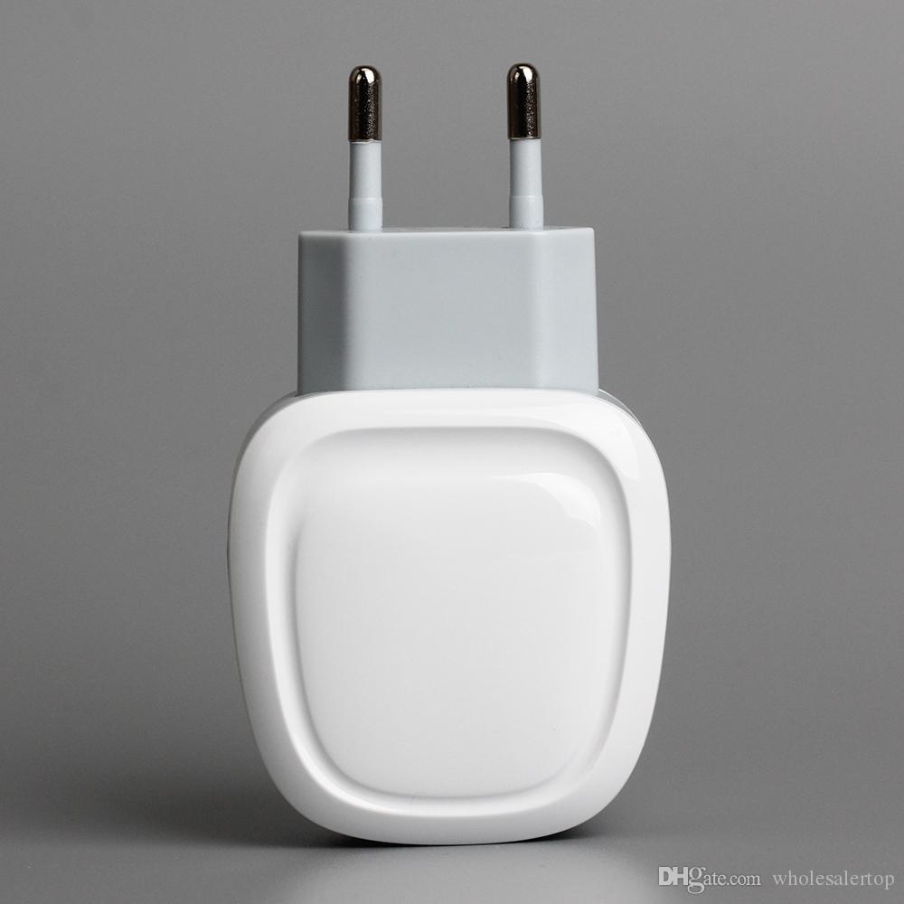 Evrensel 2 USB şarj Seyahat Duvar Şarj Adaptörü Taşınabilir AB ABD cep telefonu şarj için iPhone / Android Telefonlar 200 adet / grup
