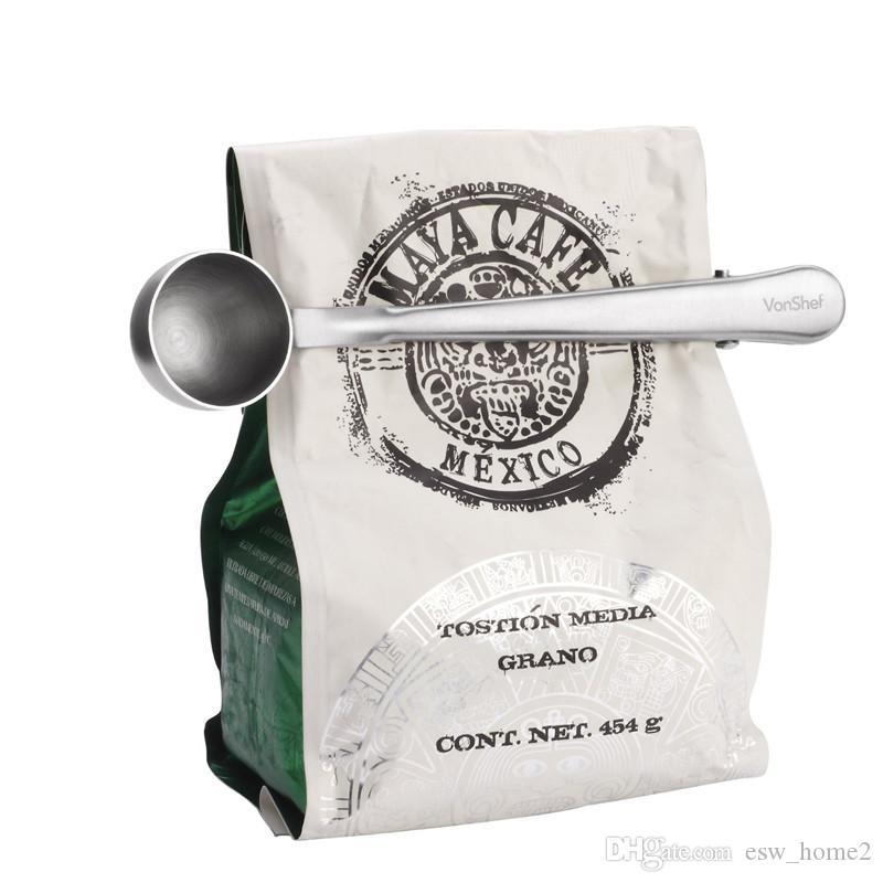 Útil Café Chá Ferramenta Copo de Aço Inoxidável Café Moído Colher Colher De Medição com Saco de Vedação Clipe