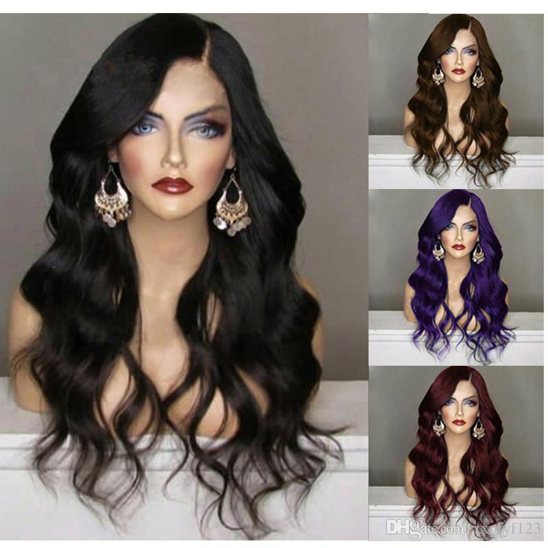 cheap Ombre Wig purple Long Wavy Wig Sexy Body Wave Fiber Hair Heat Resistant Gluelese Synthetic Lace Front Wigs for Black Women FZP28