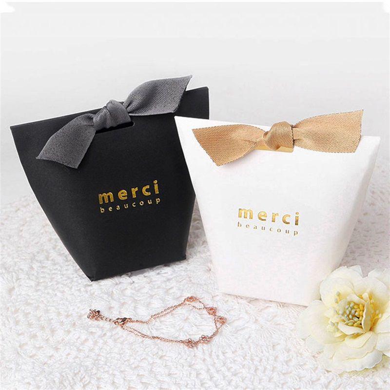 Confezione regalo squisita francese grazie merci carta pacchetto borsa doratura pieghevole caramella scatole per matrimonio favore 0 42hb yy