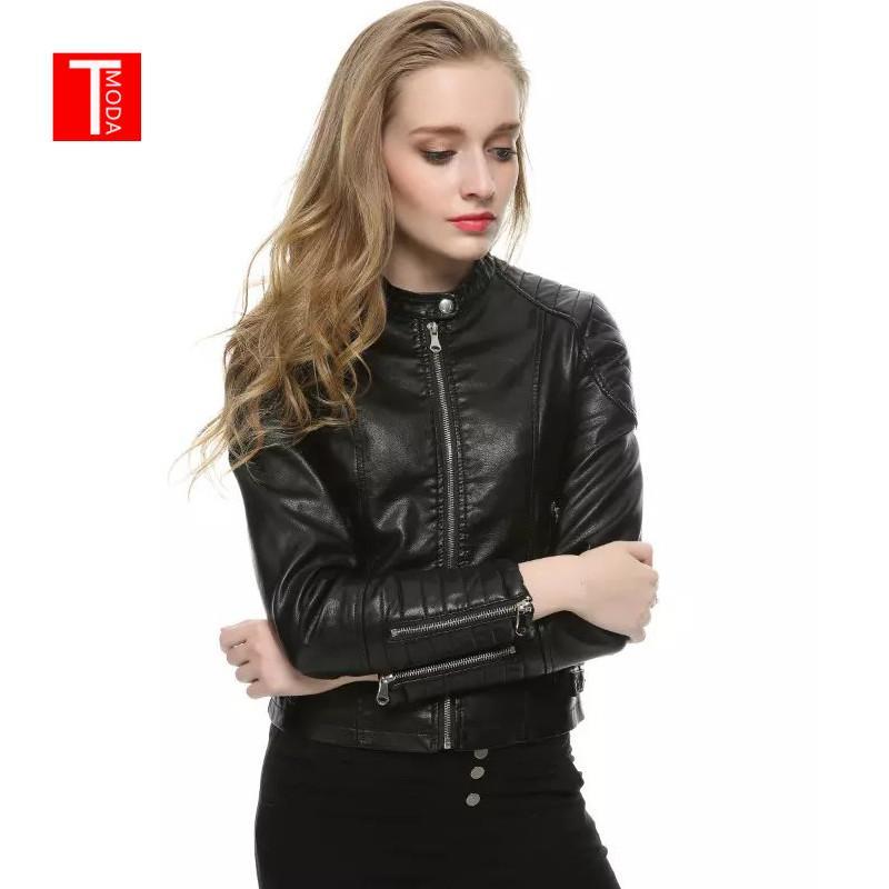 2018 Autumn Winter Women Faux Leather Jackets and Coats Lady Pu Motorcycle Black Zipper Coat Streetwear Biker Outerwear