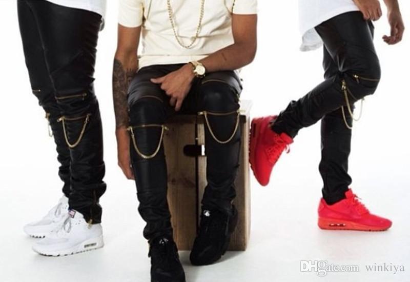 Alta quantità PU Ecopelle PANT Skinny Justin Bieber Abbigliamento Slim Fit tight men Cerniera pantaloni di pelle nera uomo pantaloni hip hop