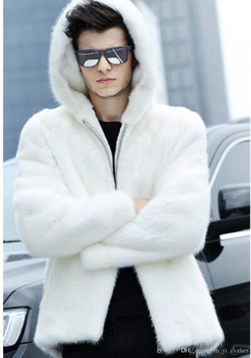 Hombres otoño invierno moda coreana nuevo estilo de boutique europeo y americano personalidad guapo tendencia sombrero blanco abrigo de piel S-4XL