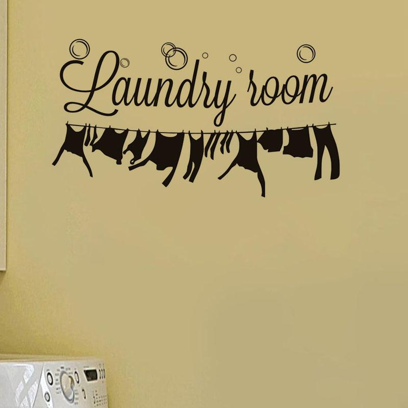 Laundry Room Vinyl Wall Sticker Laundry Signs Toilet Decals Home Decor CE