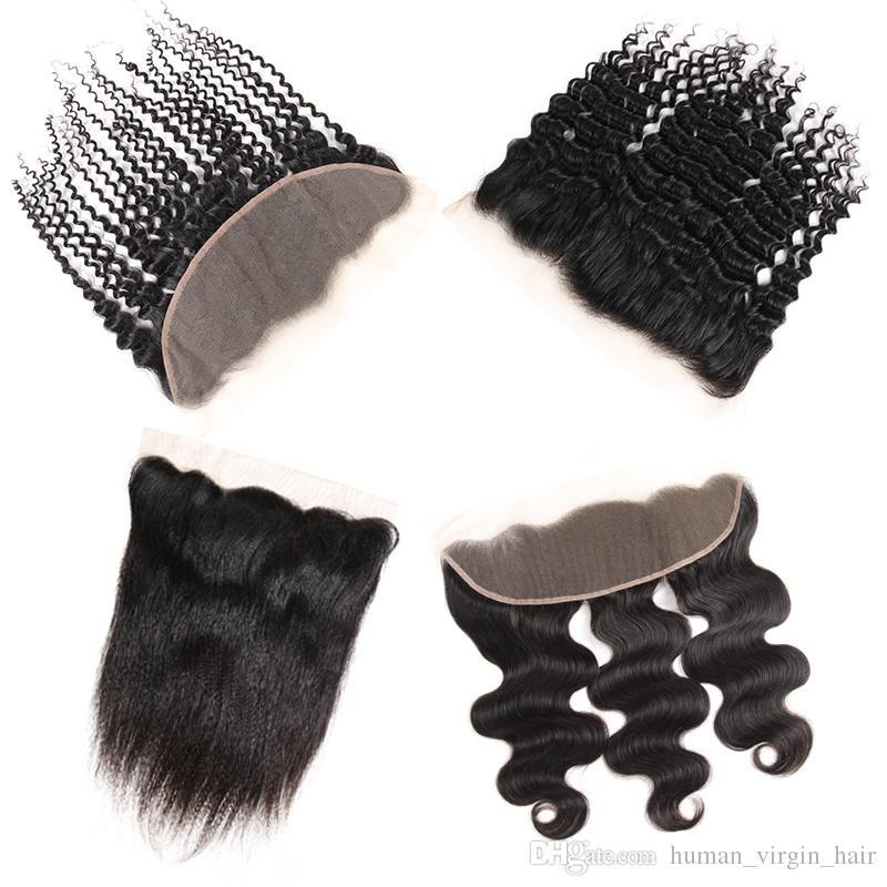 Capelli vergini brasiliani Diritto frontale Remy Estensioni dei capelli umani Onda del corpo Top Lace 13X4 Chiusure Accessori Bulk Peruvian Deep Wave Hair