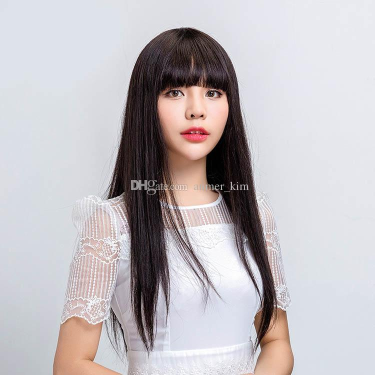 Nature bangs tangle free aaaaaa long 100% unprocessed virgin remy human hair natural color natural straight full lace cap wig for girl