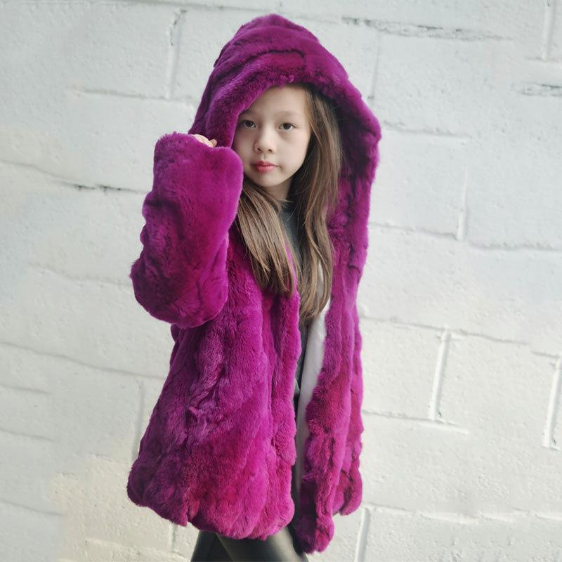 Children Kids Real Rex Rabbit Fur Jacket Coat w Hat
