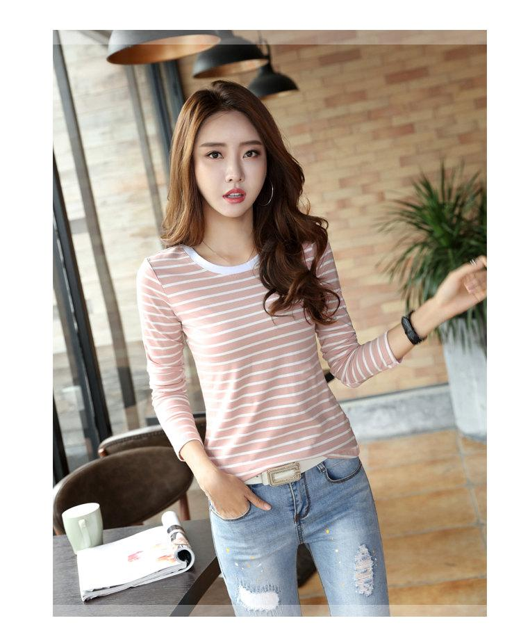 Autumn Winter Striped T-shirt Women Casual Plus Size Tops Tees Femme Long Sleeve Women Cotton Tshirt Camisetas Mujer 2019 (4)