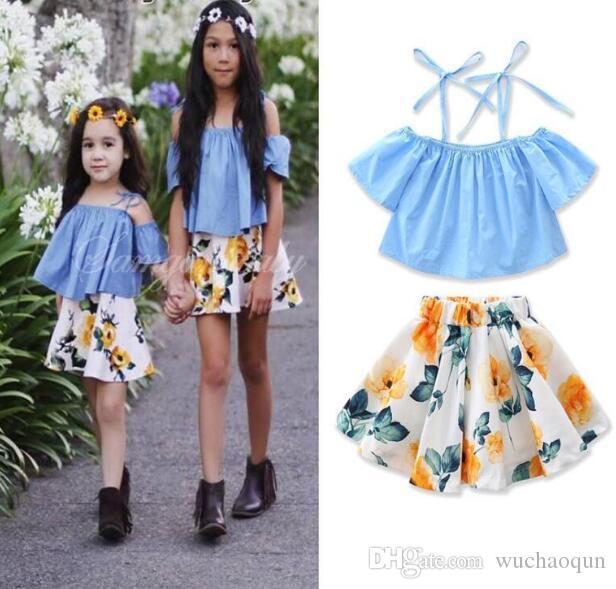 Wholesale kids designer clothes girls INS suits fashion summer sling blue T-shirt flower short skirt 2pcs suit baby girl designer clothes
