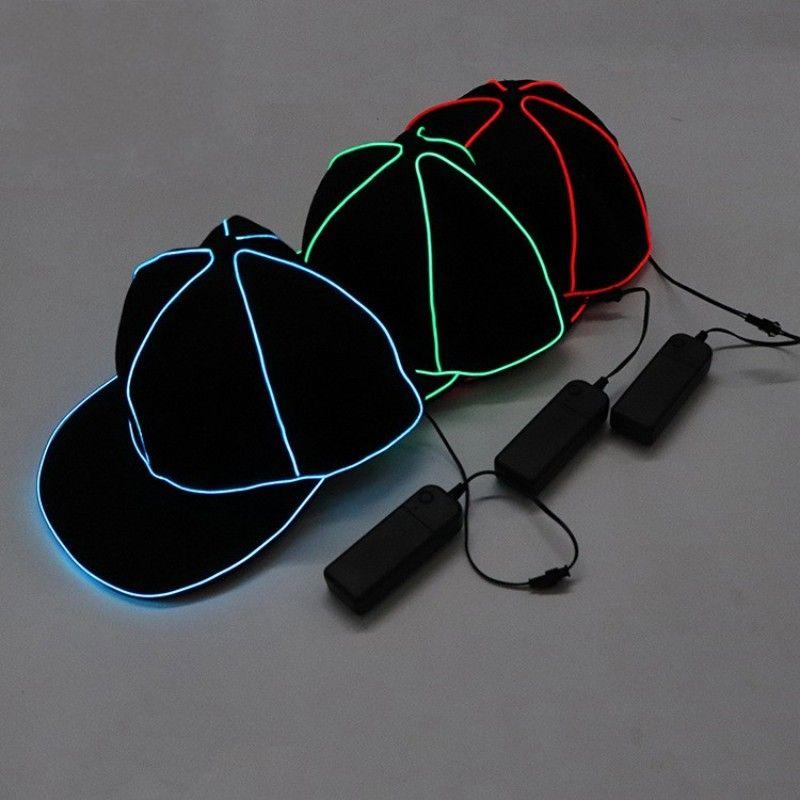 المحمولة EL سلك البيسبول كاب عادي الصمام الخفيفة الهيب هوب قبعة متوهجة في الظلام Snapback للحزب الديكور 38sy BB