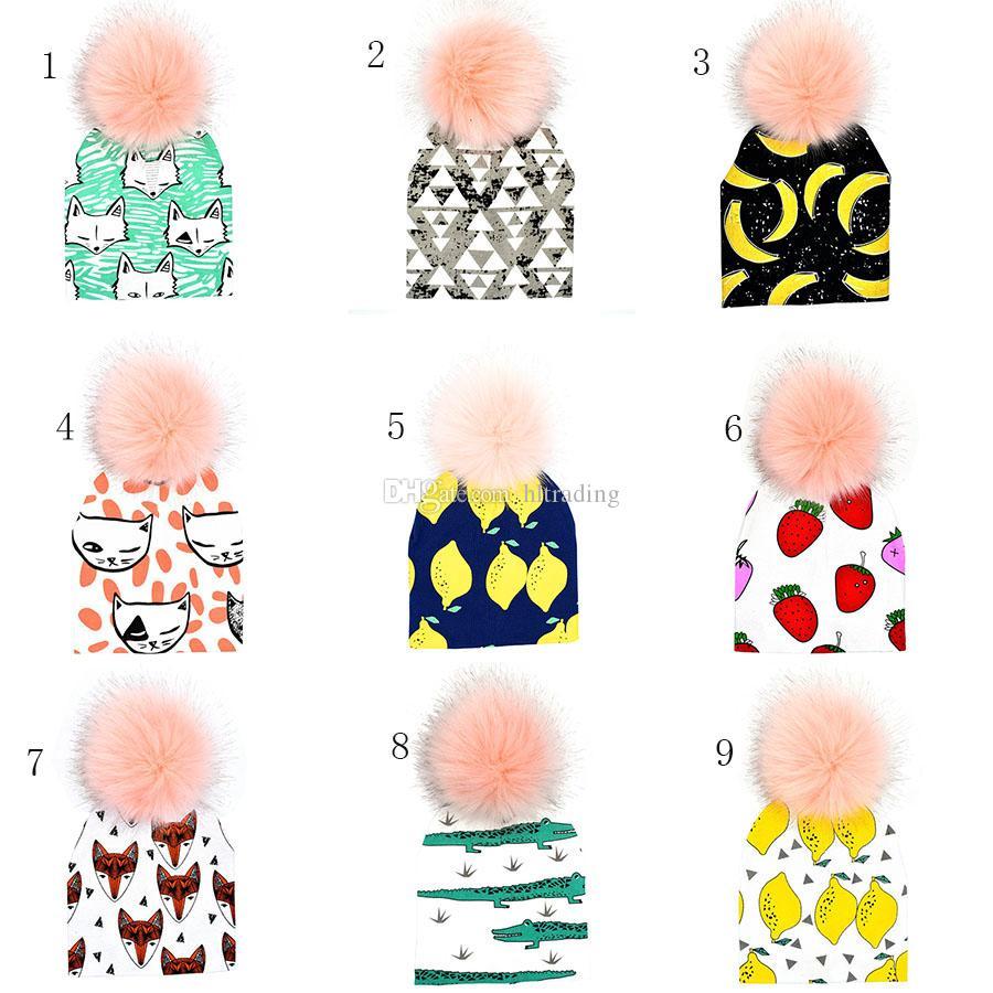 طفل الحيوانات يطبع ins بوم قبعة القبعات الليمون القرش الثعلب الفتيات الفتيان فو الفراء pompom الكرة غطاء للأذنين قبعات 13 أنماط C5416