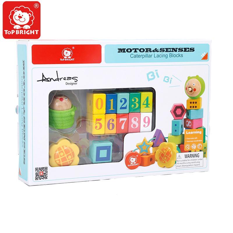Топ яркие детские образовательные большие частицы гусеница бусины блоки создатель деревянные игрушки DIY раннего детства графика
