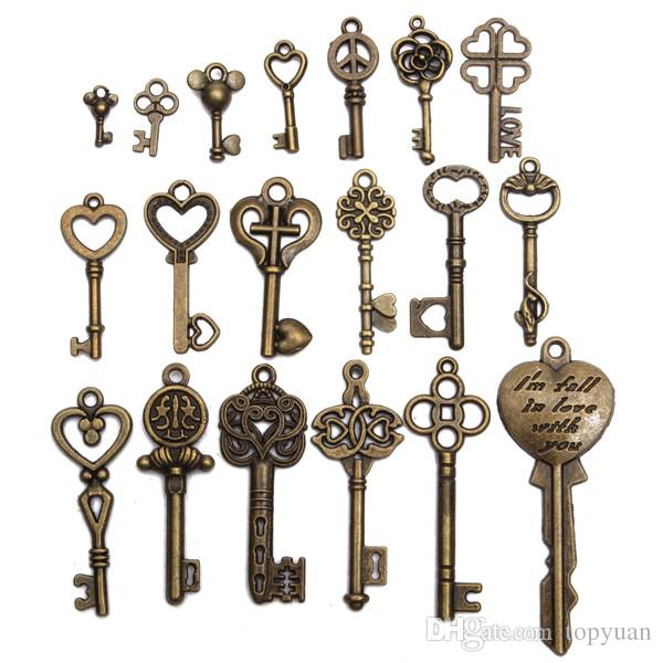 Old Skeleton Keys To Love Fashion Decoration Charms Jewelry Supply Steampunk Costume Cosplay Goggles Hat Headpiece Hair Pin Net Clip Bow Tie