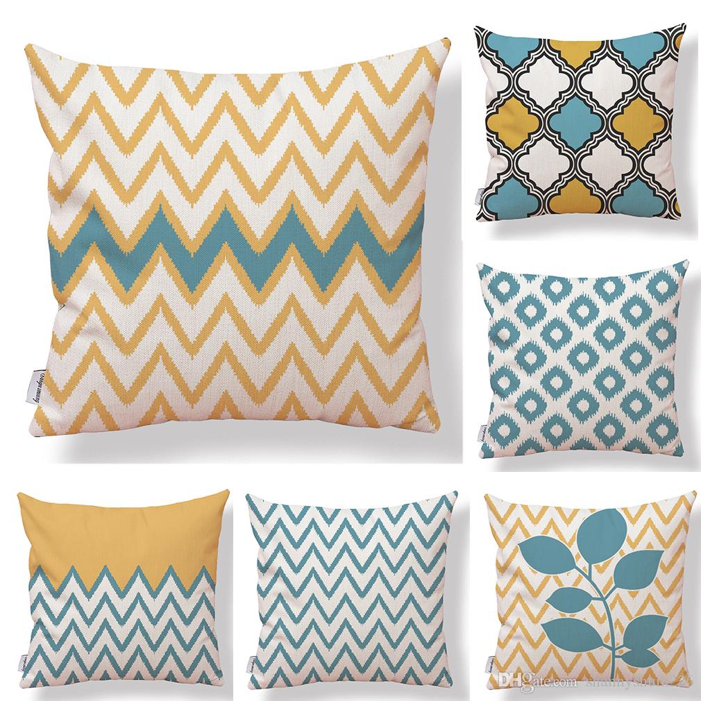 Set Of 6 Wave Geometric Waterproof Cotton Linen Square Decorative