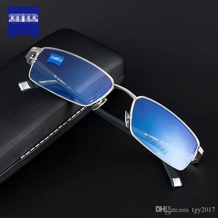 Marca ZS pure-titanium óculos quadro semi-aro masculino quadro para óculos de prescrição 57-19-140 com full-set case freeshipping