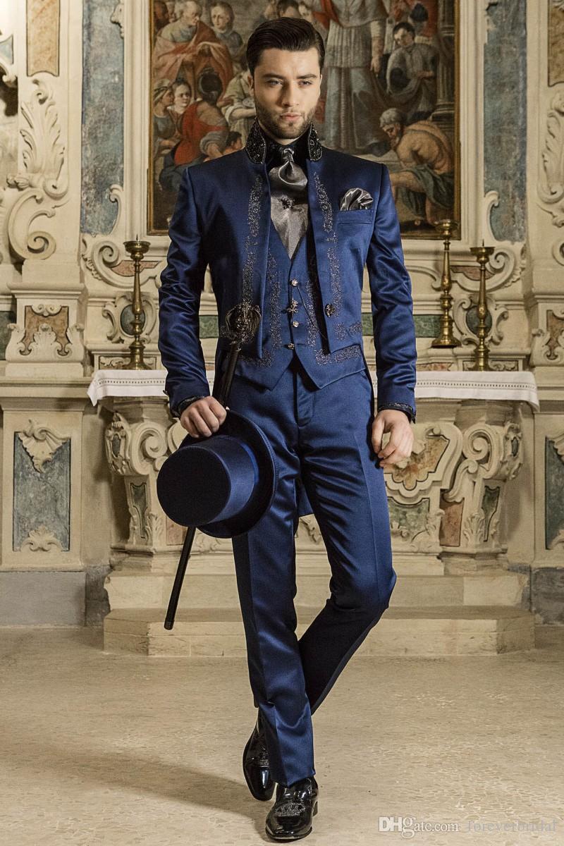 Moderno Mais Recente Do Casamento Smoking High Neck Azul Tecido De Cetim de Alta Qualidade Novo Design Homens Ternos Formais Noivo Roupas Set
