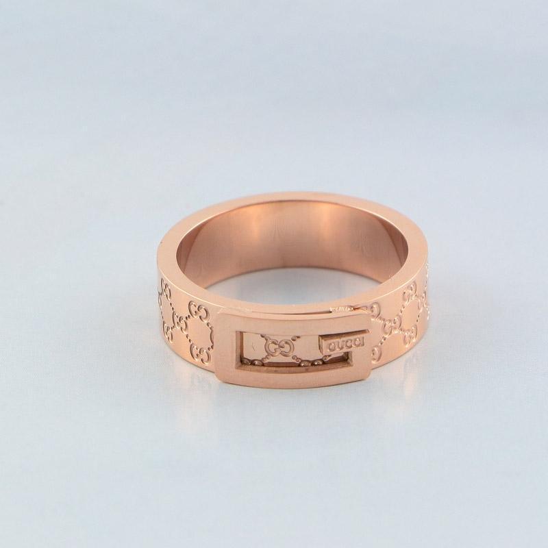 Pares de la manera joyería de los anillos del acero inoxidable de la astilla del anillo de las mujeres de los hombres anillos de bodas Rose plateó