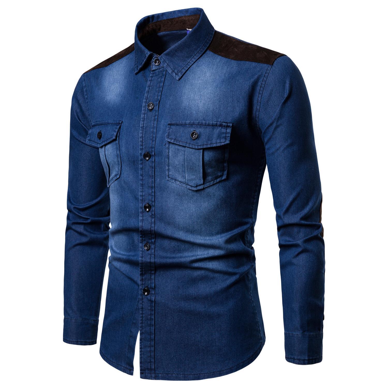 High Quality Men Shirt New 100% Cotton Denim Shirt Men Euro Size Suede Colorblock Washed Denim Long Sleeve Shirts 3 Color M-3XL Size
