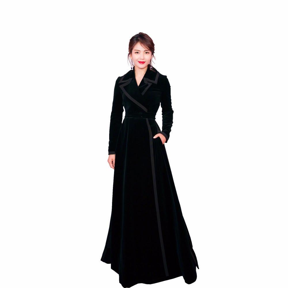 HAMALIEL Pist Sonbahar Kadın Trençkot 2018 Tasarımcı Siyah Kadife XL Uzun Dönüş Aşağı Yaka Zarif Ince Uzun Kollu Outwerwear