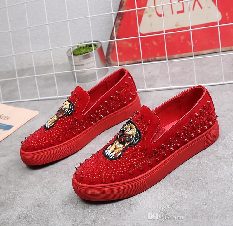 Chaussures plates brodées loisirs strass plate-forme de glissement homme chaussures de sport mocassins chaussures occasionnels