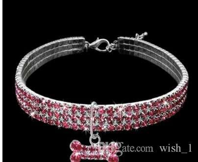 Bling strass Collari Pet cristallo Diamante Collare taglia S / forniture cane guinzagli collana M / L collari Accessori per animali