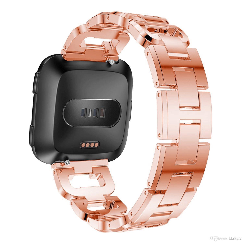 Bling Fitbit Versa-Bänder, Edelstahl-Bänder mit Strass verstellbares Metallschmuck-Armband für Fitbit Versa