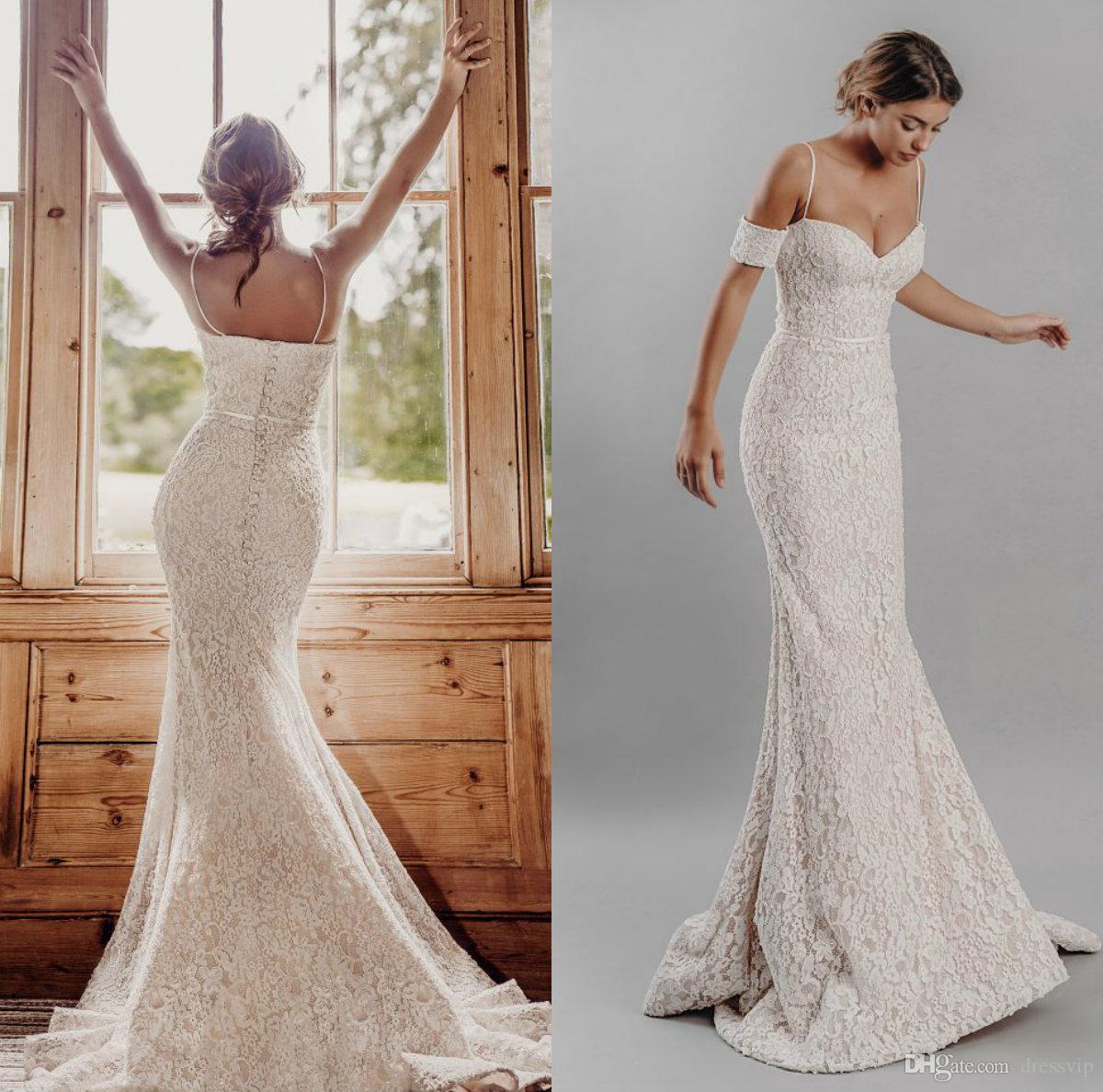 Великолепные русалки свадебные платья свадьбы спагетти кружева разведка поезда съемные с короткими рукавами страна свадебные платья рояль де Марие плюс размер платья